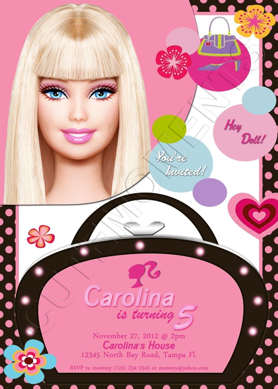 Barbie Personalized Birthday Party Invitation – Personalized Birthday Party Invitations