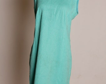 Aqua textured polyester mod 60s dress