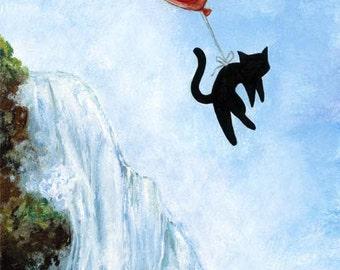 Black Cat Art Print, Red Balloon Decor, Waterfall Picture, 8x10 Wall Art, Floating Cat, Animal Illustration, Nursery Room Art, Childrens Art