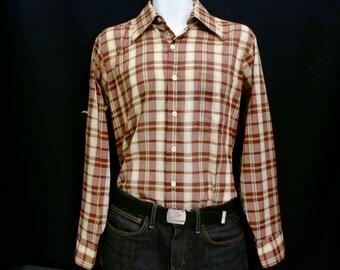Mens Plaid Brown Shirt by Arrow, Medium.