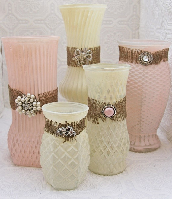 Reserved For Gina Vintage Ivory Pastel Pink & Rhinestone Hand Painted Distressed Shabby Chic Vase