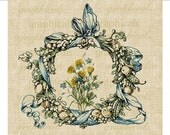 Wreath blue yellow flowers Instant digital download image for Iron on fabric transfer burlap decoupage pillows cards tote bags No. 659