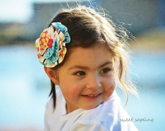 Boho Inspired Girls Hair Clip, hair bow,  dreamy, bohemian, kids, children, toddler, aqua, pink, cream