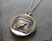 Gratitude Thankfulness Wax Seal Necklace Dog - antique wax seal jewelry by RQP Studio