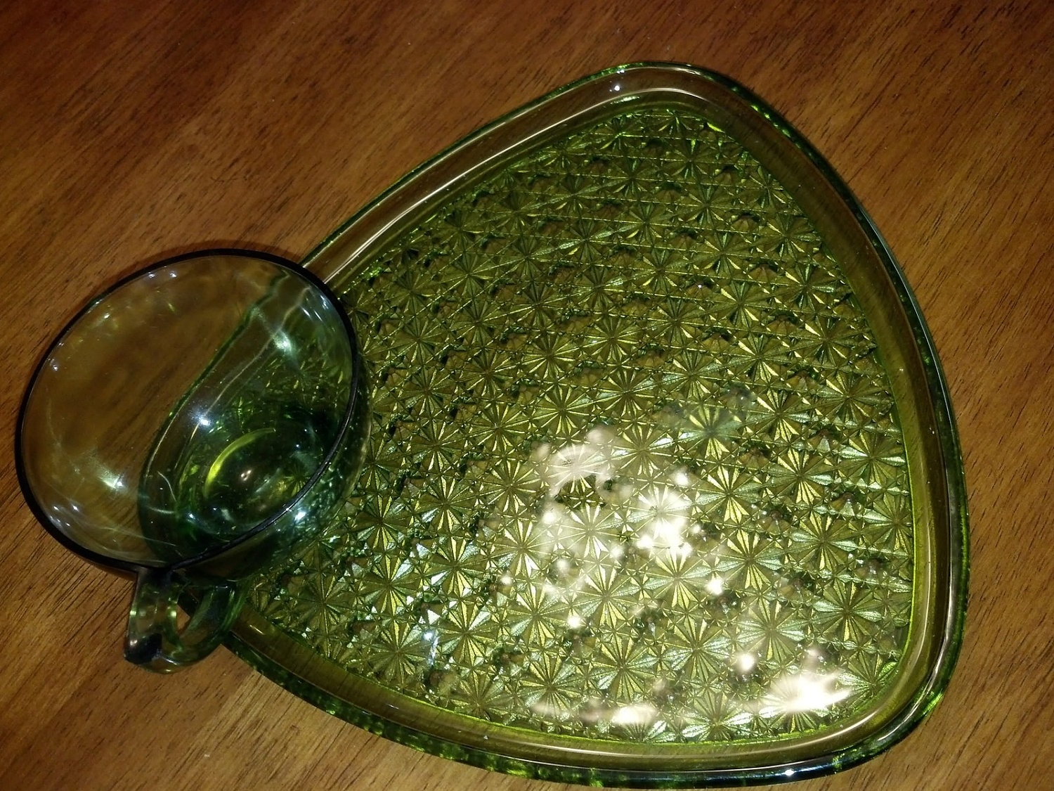 Vintage green glass snack sets by