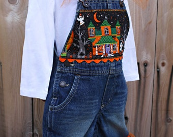 READY TO SHIP Size 18 Months Halloween Ruffle Overalls and Boutique Hair Bow