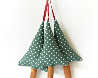 Rustic Christmas Decorations Green Polka Dot Cinnamon Trees