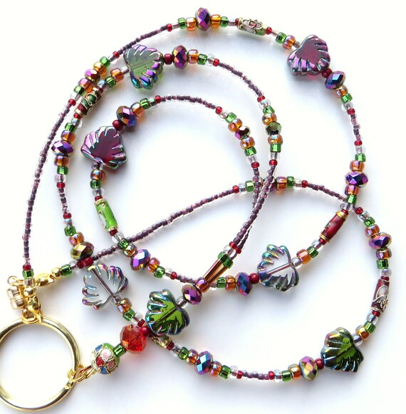 VIBRANT AUTUMN- Specialty Glass Beaded ID Lanyard- Beautiful Leaf Beads, Crystals, and Cloisonne Beads (Magnetic Clasp)