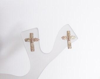 Whitaker's Black Hills Gold Textured Cross Earrings