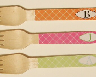 Criss Cross Monogram Wooden Forks or Spoons - Set of 20