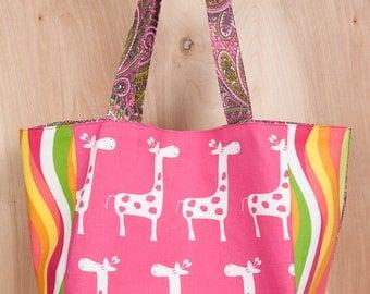 Giraffe Tote bag- Cotton-Hot Pink Giraffe- Paisley- Lime green by beckyzimmdesign