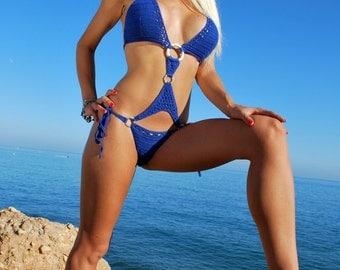 Big breast bikini, hot blue swimsuit, one piece swimwear, crochet bathing suit, beautiful bikini, crochet bikini. Best price bikini.