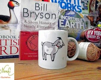 Goat Mug, Ceramic, Illustrated