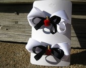 Set of 2 Black and White Layered Bows with Candy Apple Centers Great for Pigtails