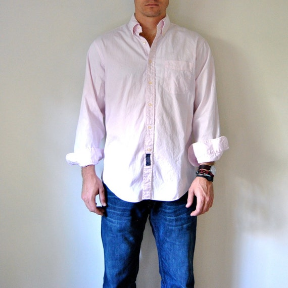 Items similar to men 39 s pink oxford shirt pale pastel for Pastel pink button down shirt