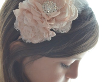 Flower and Feather Headband - Silver, Cream, or Champagne - You Choose