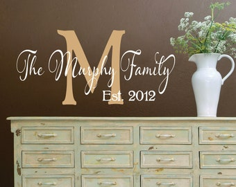 Vinyl Wall Decal - Name Wall Decal - Family Name Wall Decals - Wedding Decor Gift - Large Wall Decal