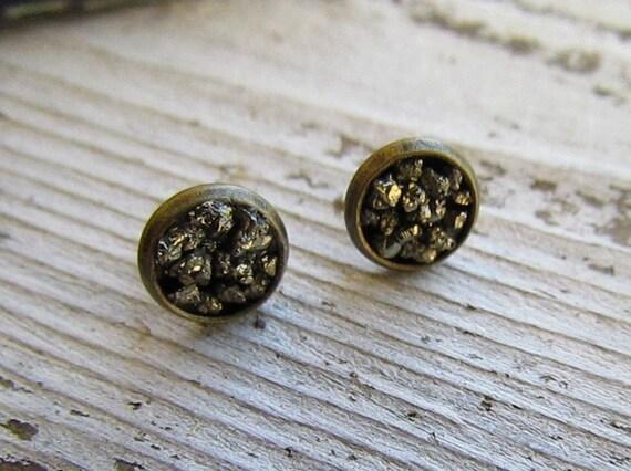 Pyrite Druzy Crustal Earrings // Pyrite Studs // Raw Pyrite // Stud Earrings // Brass Silver // Crushed Pyrite // Crystal Earrings