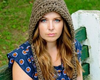 Crochet Pixie Hat, Womens Hat, Gnome Hat, Womens Fashion, Hood, Fall Accessories