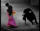 Goyesca - Signed photo 4 x 4 - corrida bullfighting gray light shadow bull matador torero folklore