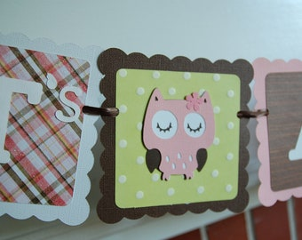 Owl It's A Girl Banner, Owl Baby Shower Banner, Owl Theme, Owl Banner, Girl Baby Shower