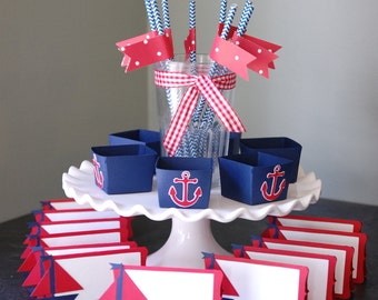 Nautical Package, Anchor Candy Cups Sailboat Place Cards, Red White Navy, Nautical Baby Shower