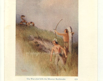 Antique Print, Native American WAR CHIEF Indian Men, 1914, beautiful wall art vintage illustration