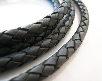 Leather Cord 6mm - Grey Round Braided Bolo Genuine Leather Cord ( Hole Inside )