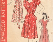 Vintage 1940s Misses' Breakfast Coat Or Housecoat With Princess Seams In 3 Variations - Hollywood Pattern No. 1240