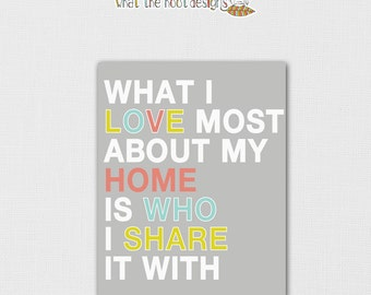 Printable What I love most about my home is who I share it with  8x10 - DIGITAL PRINT
