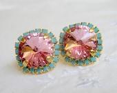 Soft Pink and turquoise Swarovski crystal large stud earrings, Bridesmaid earrings, Crystal pink stud earrings