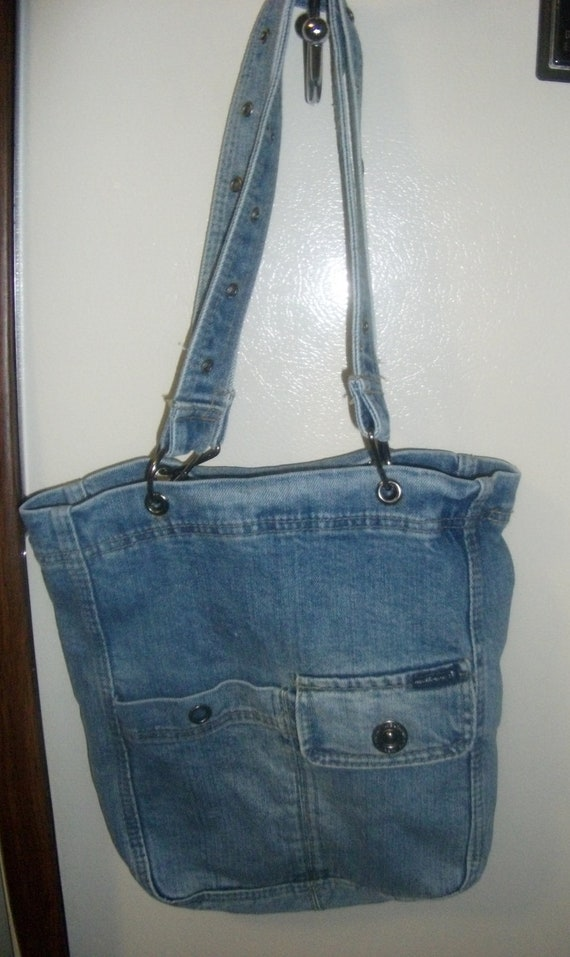 Vintage Blue Jean Denim Purse by Weathervane Outside Pockets Shabby Chic Only  5 USD