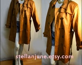 ITEM ON RESERVE. ...Vintage Dress length Peanut Butter Brown Vintage Leather Trench Coat Double Breasted Peanut Butter Brow