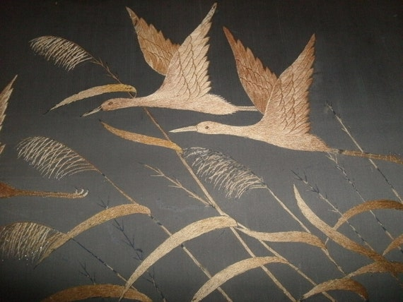 Japanese Silk/COMMON CRANES in FLIGHT/Black Silk with Gold Silk Thread/Wood Frame/Gold Leaf Paint