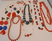 Vintage Jewelry Collection Destash Lot,  Red White Blue