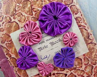 14 satin yoyos, dusky pink and purple, hearts and circles, embellishments or appliques, variety assortmen Suffolk puffs.