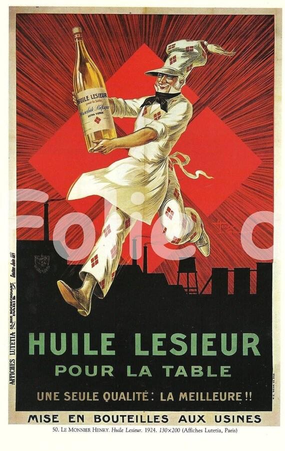 Vintage French FOOD Lesieur Oil advertisement poster Henry Le