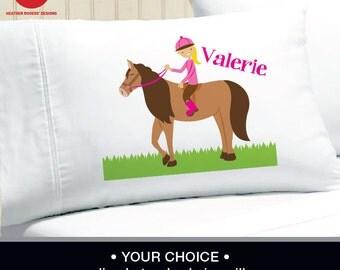 Horse Pillowcase -  Girls Personalized Horse Pillow case - Standard Personalized Pillowcase