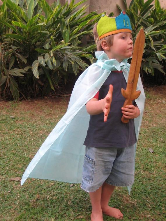 Silk Play Cape, Superhero Cape, Princess Cape, Knight Cloak, Birthday Cape in Blue Silk