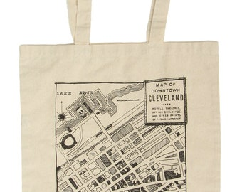 Downtown 1942 Cleveland Map Canvas Tote