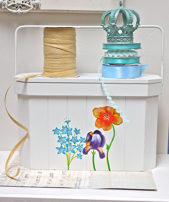 Handpainted Sewing Box - Craft Box - Storage Box with Handle