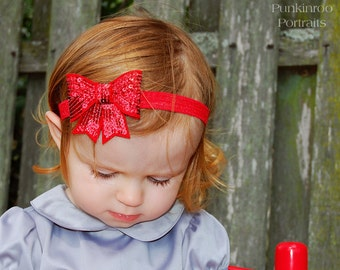 Baby Stretch Headband Sparkly Red Sequin Bow Stretchy Shimmery Headband - Headband Sizes Newborn to Adult