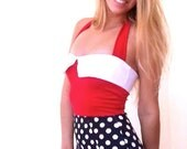 Modest Swimsuit-Vinatge inspiration- Red with Polka dots