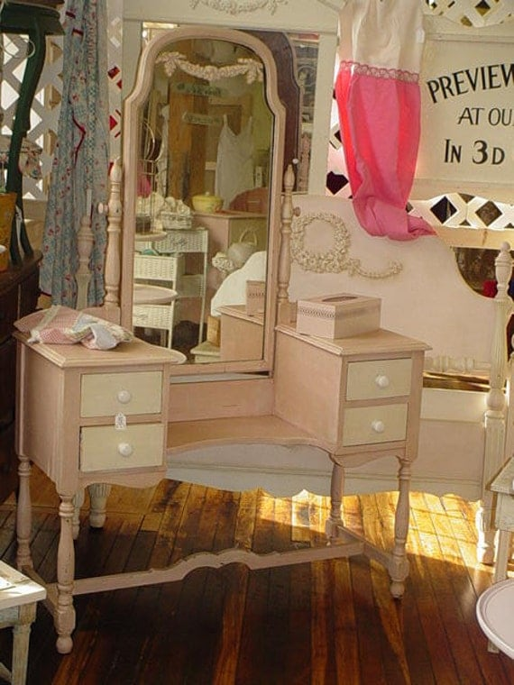 Reserved Vintage Vanity And Mirror And Bench By