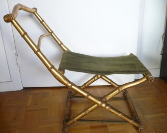 Pliant XIXème Nap III Imitation Bambou Doré Feuille Or Gold Chair Chaise Antique Decoration Napoleon Art Deco Boulle
