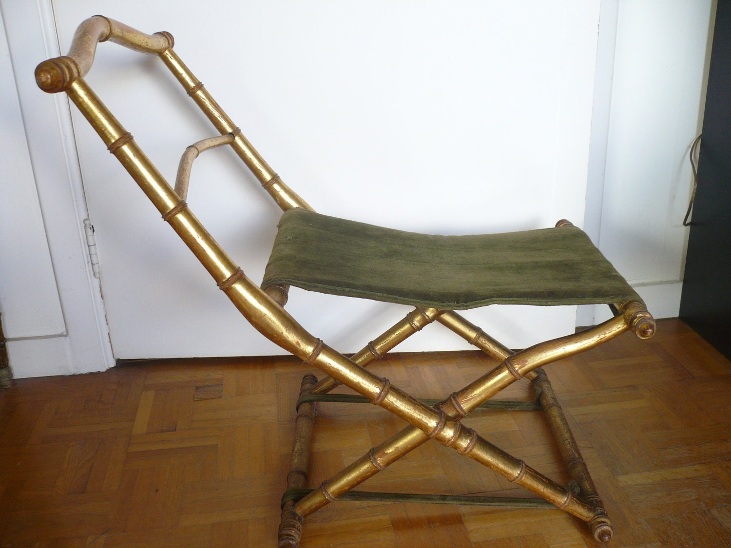 Pliant xix me nap iii imitation bambou dor feuille or gold chair chaise anti - Chaise imitation cuir ...