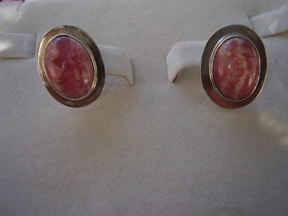 Large Signed Sterling Silver Rhodochrosite  Post Earrings
