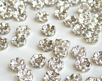 50 Clear rhinestone rondelle wavy spacer beads 8mm DB10186