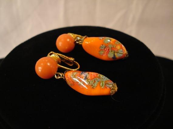 Earrings / Orange Glass Beads w Floral Design / Clip on Earrings / Dangle