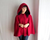 Little red riding hood, Red cape, wool cape, fall fashion, fairy tale cape coat